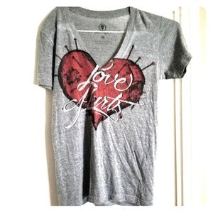 Love Hurts V-Neck T-Shirt by Villians & Vagabonds